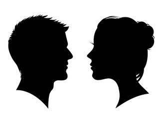 Man and woman silhouette. Face to face – stock vector