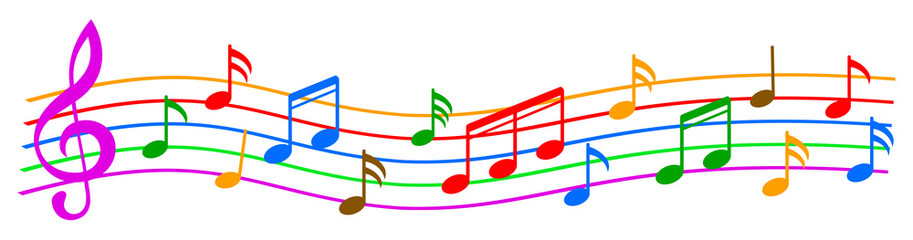 Music notes, colorful group musical notes – stock vector