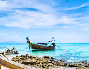 Amazing view of beautiful beach with traditional thailand longtale boat. Location: Bamboo island, Krabi province, Thailand, Andaman Sea. Artistic picture. Beauty world.