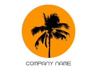 Palm tree summer logo template. Tropical palm tree, black silhouette and outline contours, company name, vector isolated transparent or white background Wall mural