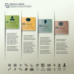 Four Paper Labels Infographic Vector Illustration