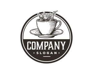 Hand Drawing Vector Fresh Hot Coffee Cup Sign Symbol Vintage Circle Logo Template Design Inspiration