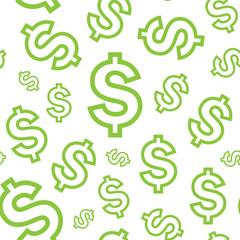 Light green dollar seamless pattern, eps 9