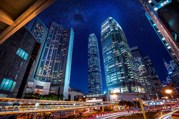 Fototapete - Hong Kong skylines at night