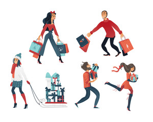 Vector illustration set of people doing shopping before winter holidays in cartoon gradient style - various isolated male and female characters hurry to purchase gifts for Christmas and New Year.