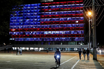 The municipality building in Tel Aviv is lit in the colours of the American flag in solidarity with the victims of the Pittsburgh synagogue attack, Israel