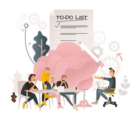 Coworking communication vector illustration with team of people working together and discussing process - business meeting and brainstorming concept in cartoon style isolated on white background.