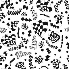 Repeated seamless pattern background in black and white.  Swatch design