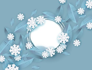 Vector illustration of winter natural banner for seasonal design - decorative background with blue tree leaves and white snowflakes in paper art style around blank grunge round shape.