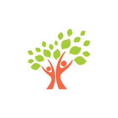 tree human family logo vector
