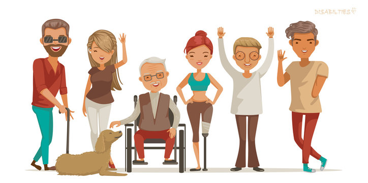 Disabled people group. Invalid persons, Blind man, Deaf women, People on wheelchair, Lose of arms and legs. Aphasia, Dog therapy, Healthcare assistance and accessibility concept. Vector illustration.