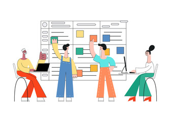 Vector illustration of scrum planning technique of teamwork on software development with flat isolated male and female characters working with laptop and sticking colorful paper on agile board.
