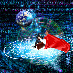 Fototapete - The space networking  technologies Internet.elements of this image furnished by NASA
