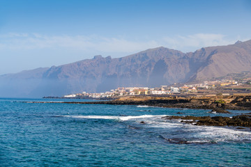 Beautiful view of the cliffs of Los Gigantes next to the fishing village of Alcala.  Tenerife. Canary Islands..Spain