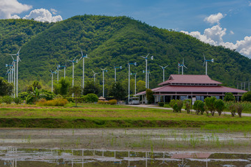 Windmills for electric power production in Royal Initiative Project Chang Hua Mun project demonstrate holistic agriculture for sufficient economy at Hua Hin district Phetchaburi, Thailand