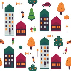 Autumn cityscape vector illustration seamless pattern with people in warm clothes walking on street with apartment houses and colorful trees on white background - seasonal urban backdrop.