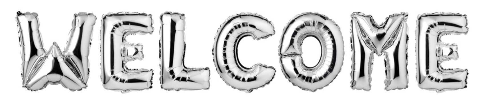 Upper case letters WELCOME from silver balloons, Isolated on white background