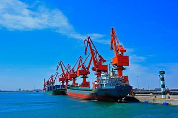 Port crane bridge and bulk carrier