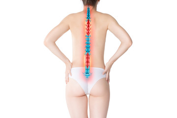 Pain in the spine, woman with backache isolated on white background, back injury