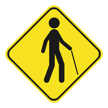 Blind pedestrian with walking stick. Yellow and black rhombus sign. Vector icon.
