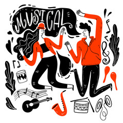 Couples are dancing in Music Festival. Moments of relaxation the appearance and lifestyle. Collection of hand drawn. Vector illustration in sketch doodle style,Painting strokes, semi-abstract