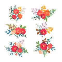 Floral set. Collection with red orange beautiful flowers. Hand d