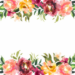 Watercolor flowers in frame, hand drawn for print, cards design.