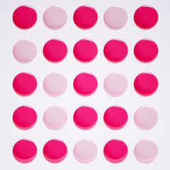 Beauty makeup and nail design banner pastel pink and lipstick round swatches color, nail polish drops pattern, 3d rendering