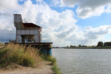 Sand hopper along river Hollandsche IJssel in the Netherlands