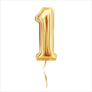 Numeral 1. Foil balloon number One isolated on white background. Vector illustration