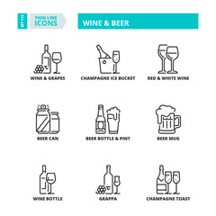 Thin line icons. Drinks. Wine and beer