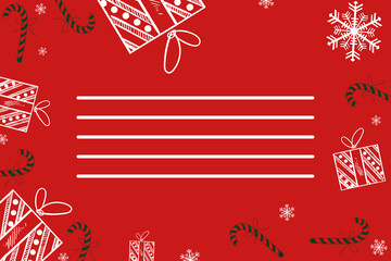 Christmas background of gifts, Christmas decorations and snowflakes. New year background, copy space.