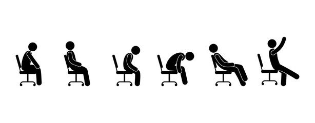 stick figure pictogram, man sitting on a chair, various poses, people silhouettes, office workers icon