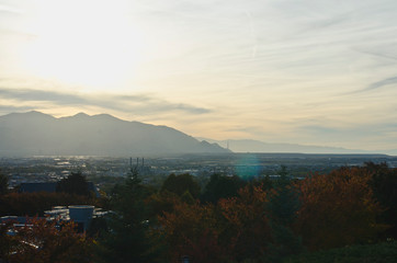 A view across the salt lake city valley as the leaves begin to change.