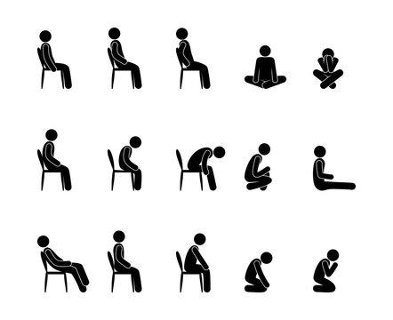 icon man sits, a set of pictograms, various postures and body positions of seated people, stick figure human