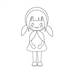 Simple vector of Little Red Riding Hood standing with a dress and with two pigtails to black line to be able to paint when you print it.