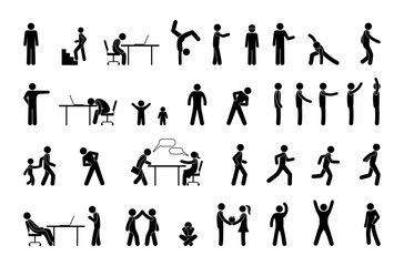 icon people in different situations, set of human figures, stick figure person