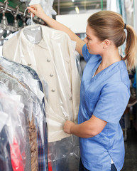 Girl working in dry cleaner