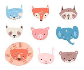 Vector collection with tiny animal faces. Emoji. Cat, fox, racco