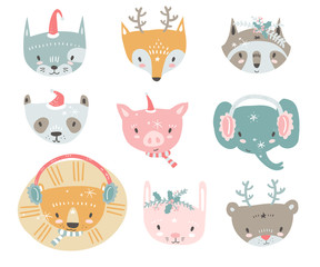 Vector collection with tiny animal faces in winter costumes. Emo