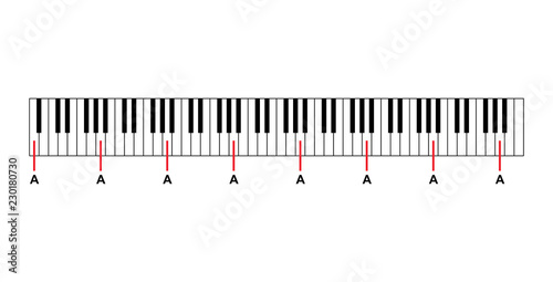 eaad8e9fe11 Piano keyboard diagram - piano keyboard layout on white background vector  illustration
