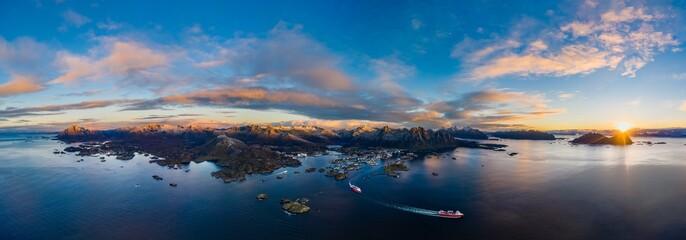 Aerial Sunrise over Svolvaer, Lofoten Islands, Norway