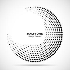 Wall Mural - Halftone circle abstract frame.  Circular dots logo emblem design element for medical, treatment, cosmetic. Round border Icon using halftone circle dots raster texture. Vector illustration.