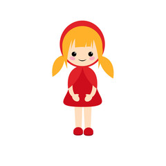 Simple vector of Little Red Riding Hood standing with her red dress and blonde hair with two pigtails.
