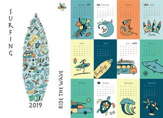 Surf school, calendar 2019 design