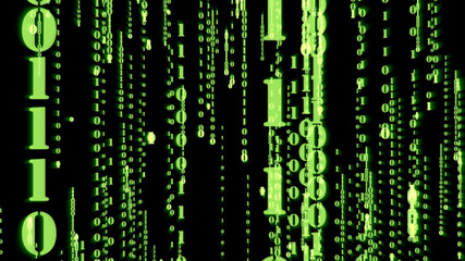 Motion Graphic of random green particle binary digit number falling down with matrix effect over animated background, analysis data and computer concept