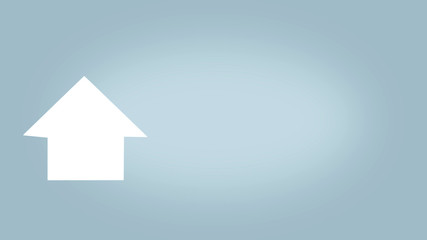 layout of a new house in the form of an arrow upward motivating to buy or rent a home, design a website or page, a light blue background