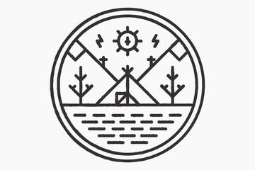 The wigwam on the lake shore, round logo