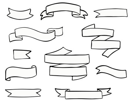 set of hand-drawn doodle banner flags.