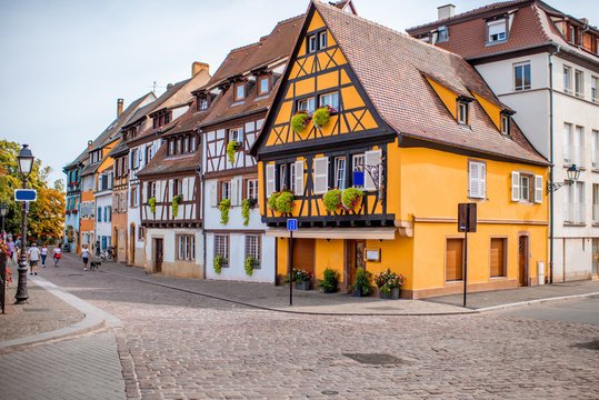 Cityscaspe view on the old town with beautiful half-timbered houses in Colmar, famous french town in Alsace region